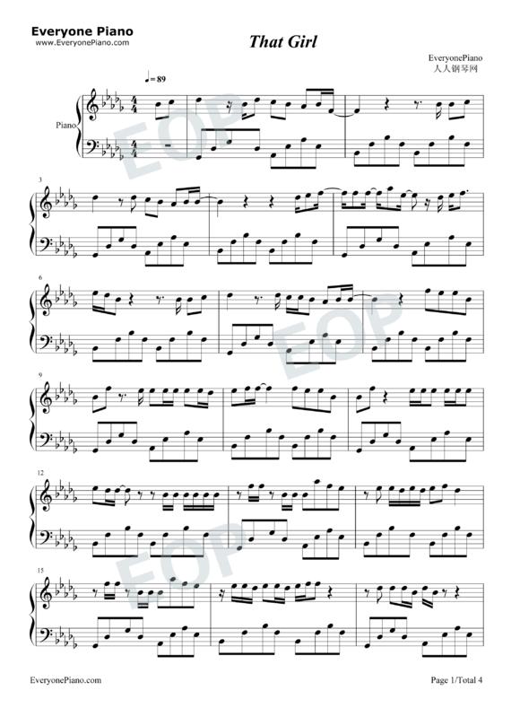that girl 钢琴版 钢琴谱 MV视频